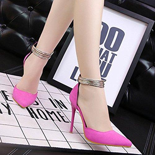Rose Pompes Aiguille Fermeture Sandales Cheville éclair Talons Femme Xianshu Chaussures Escarpins pour 38 Bout Anneau Hauts Pointu EU FZZ7Bz