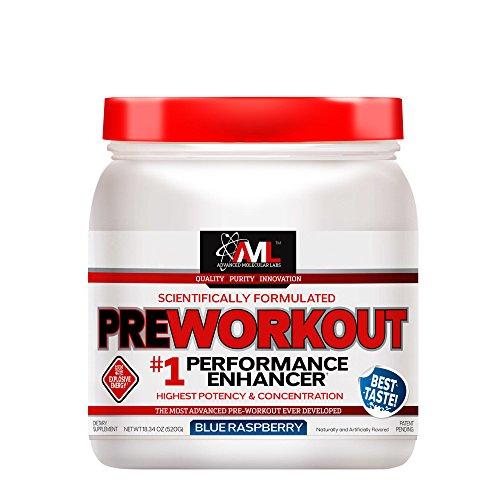 Advanced Molecular Labs - Preworkout Powder, Performance Enhancer, Increases Drive, Blue Raspberry, 18.34 oz