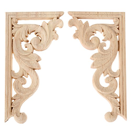 2pcs left+right(each 1pcs) Vintage Wooden Carved Corner Onlay Furniture Wall Decor Unpainted Frame Applique