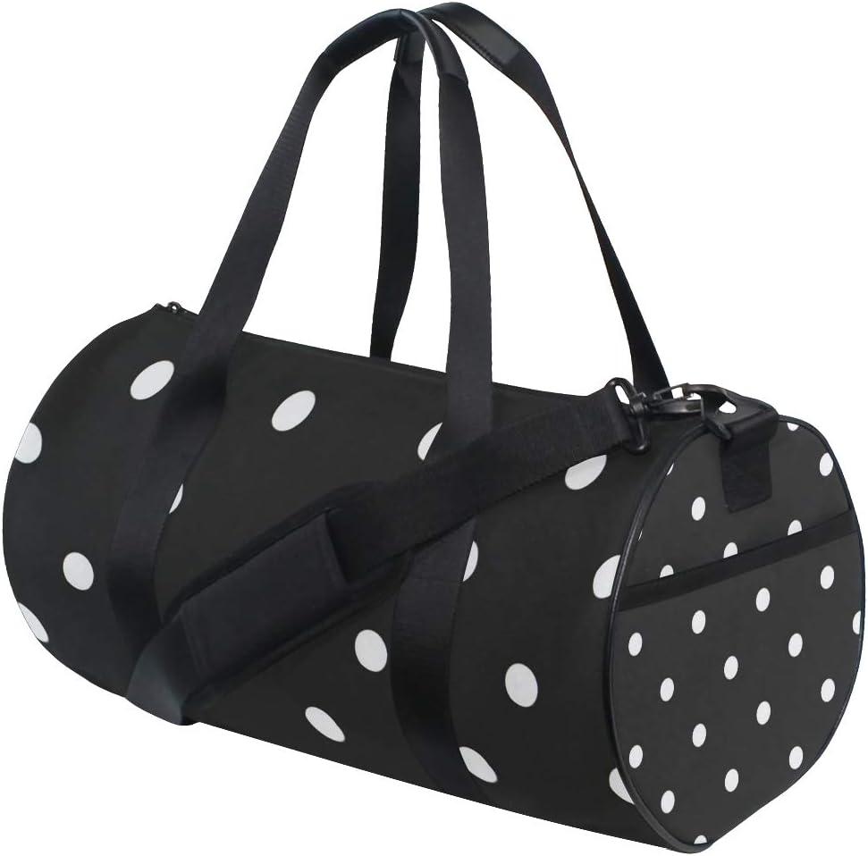 Duffel Bag Black /& White Polka Dot Women Garment Gym Tote Bag Best Sports Bag for Boys