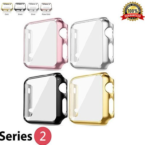 Protective Case for Apple Watch Case 42mm Series 2, 3 Bumper for Apple Watch 42mm Snap on Face Cover Full Coverage Screen Protector of Thin Plated Case PC iWatch 3/Sport/Edition 2017 - 4 Colors Pack