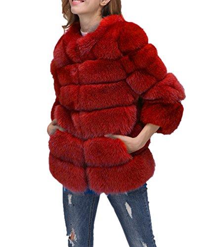 ' Invierno Chaqueta Caliente Piel de Abrigo sintética Red FOLOBE Women f6q5ww