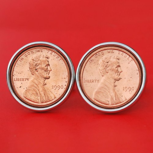 US 1990 Lincoln Small Cent BU Uncirculated Coin Silver Plated Cufflinks NEW - Lucky Penny by jt6740