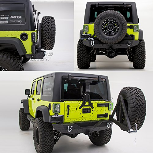 (Restyling Factory -Heavy Duty Rock Crawler Rear Bumper with Tire Carrier and 2