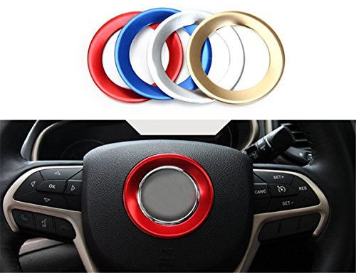 FMtoppeak New Auto Interior Steering Wheel Decorative Aluminum Cover Trim for 2011 - 2016 Jeep Grand Cherokee 2014-2016 Cherokee - Steering Wheel Jeep Grand Cherokee