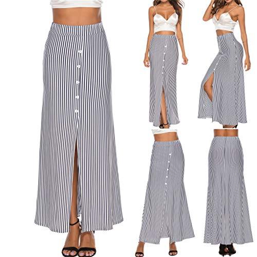 Zlolia Women's Stripe Button A-Line Skirt Stretch Plain High Waist Split Skirts for Casual White