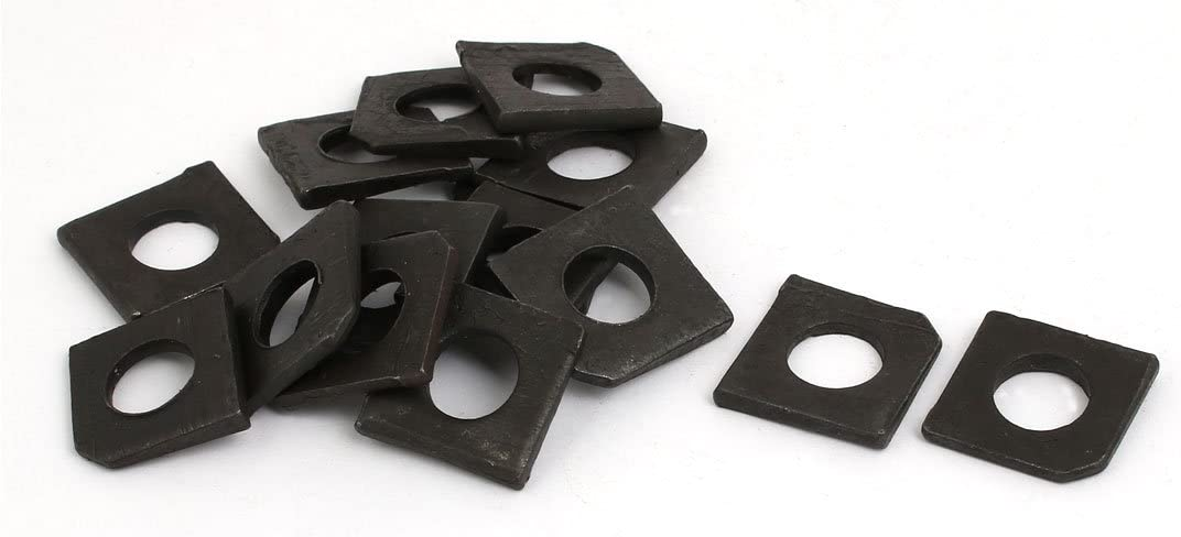 uxcell M10 Industrial Carbon Steel Square Locking Washer Gasket Black 15pcs