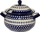 Polish Pottery Soup Tureen From Zaklady Ceramiczne Boleslawiec 1004-166a Floral Peacock Pattern, 13.4 Cups