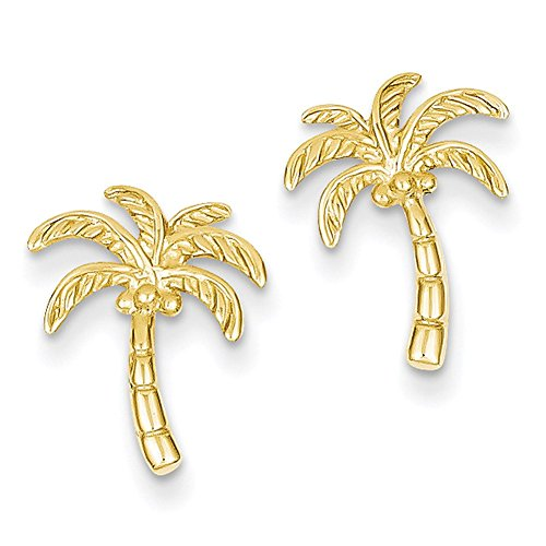 Lex & Lu 14k Yellow Gold Palm Tree Post Earrings LAL83151-Prime ()