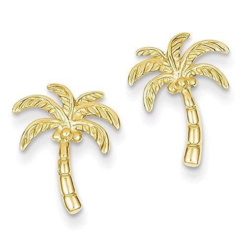 Lex & Lu 14k Yellow Gold Palm Tree Post Earrings LAL83151-Prime ()