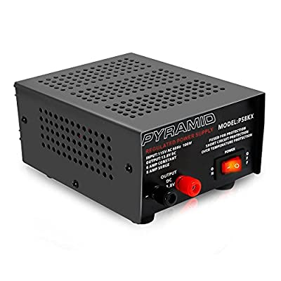 Universal Compact Bench Power Supply - 6 Amp Linear Regulated Home Lab Benchtop AC-to-DC 12V Converter w/ 13.8 Volt DC 115V AC 100 Watt Power Input, Screw Type Terminals, Cooling Fan - Pyramid PS8KX: Car Electronics