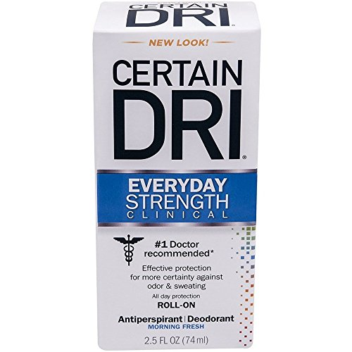 CERTAIN DRI Everyday Strength Clinical Roll On Antiperspirant/Deodorant Morning Fresh 2.5 oz (Pack of 5) (Dry Deodorant)