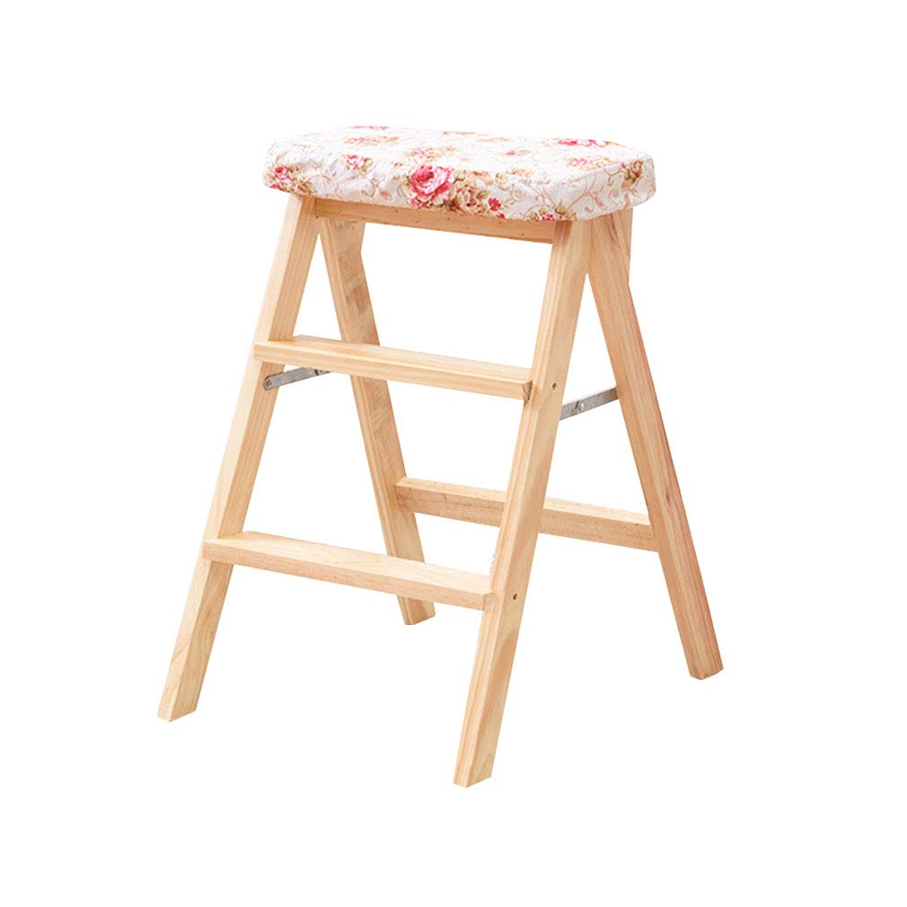 3 Folding 3 Step Ladder Stool Solid Wood with Cushion High Foot Stool Bar Stool Flower Rack Shelves Multi-Function (color    2)