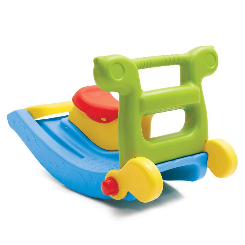 LINGZHIGAN Scivolo Multifunzionale Slide Combination 2 in 1 Giocattolo per Bambini in Legno Cavallo per Bambini a Dondolo Scorrevole in plastica