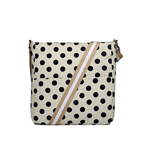 Cross Handbag Body Black Cream Spotty Messenger Polka Canvas Fashion Dot And Bag Medium BSqqwUp