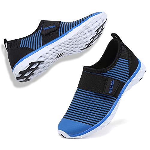 (GLOBTOUCH Boys Girls Water Shoes Aqua Sock Lightweight Comfort Sole Slip on Easy Walking Athletic-ADTSX-blue-34)