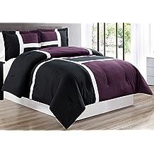 3 piece PURPLE / BLACK / WHITE Goose Down Alternative Color Panel Oversize Comforter Set, KING size Microfiber bedding, Includes 1 Oversize Comforter and 2 Shams