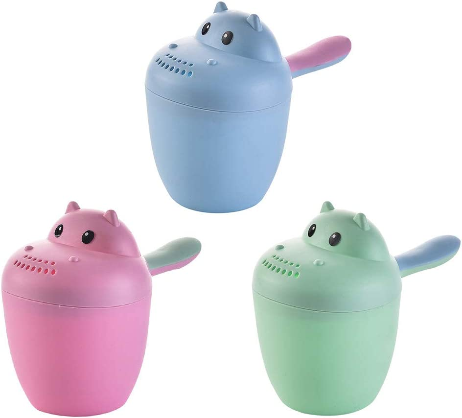 TOPBATHY Kids Hippo Shaped Shampoo Risciacquo Cup Bath Rinse Cup Rosa