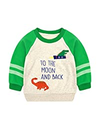Anbaby Boy's Kids Long Sleeve Baseball Cap Dinosaur T-shirts Sweatshirts