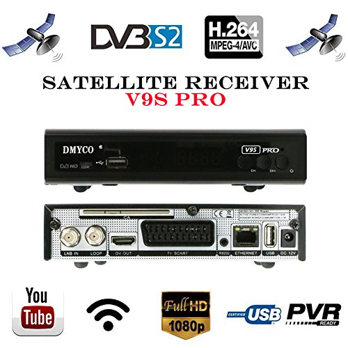 Satellite TV Receivers Full 1080P DVB-S/S2 Free to Air Digital Receptor FTA Signal Detector Support Decoder,YouTube,PVR EPG for HDTV,Powervu,DRE & Bisskey, Network Sharing,USB WiFi