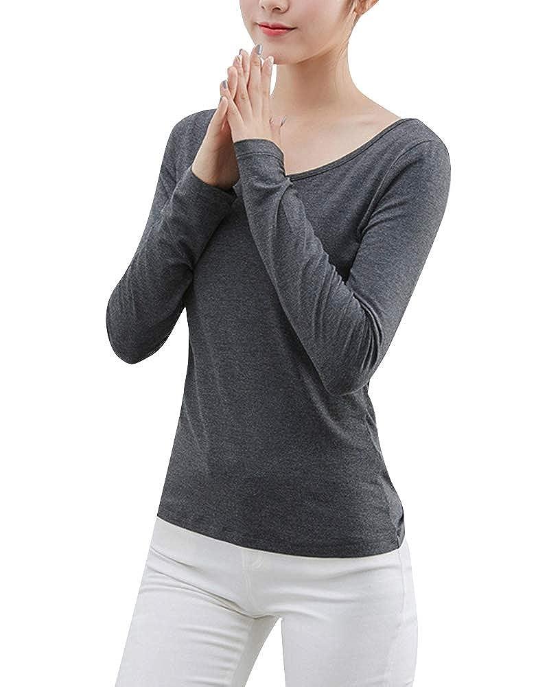 Kasen Donna Biancheria Intima Termica Manica Lunga Girocollo Slim Fit Elegante Maglie
