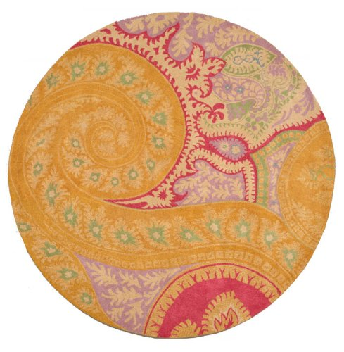 EORC IE8780B Orange Hand Tufted Wool Paisley Rug, 7-Feet 9-Inch Round, Orange