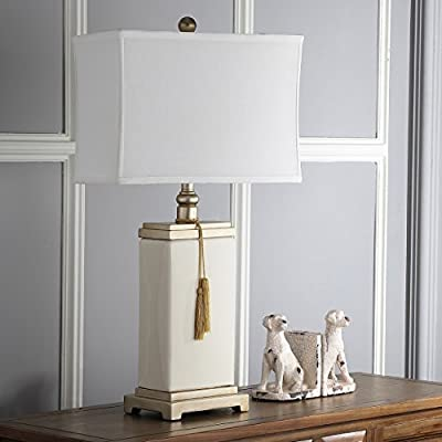 Safavieh Lighting Collection Amiliana Cream Tassel 29.5-inch Table Lamp