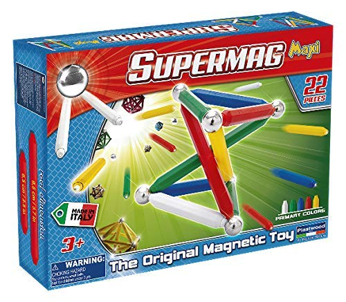 Supermag Maxi is A Magnetic Construction Building Set with Rods and Balls for 2D and 3D Building with Magnetic Rods in 2 Sizes for Added Creativity, Contains 22 Pieces from Supermag