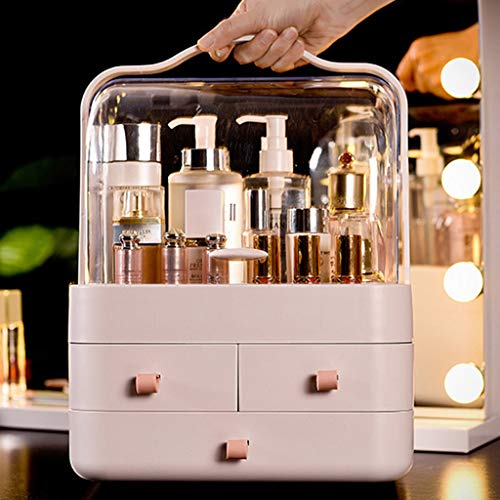 Fine Dust-Proof Makeup Organizer, Cosmetic and Jewelry Storage with Dustproof Lid, Display Boxes with Drawers for Vanity, Skin Care Products Rack Dressing Table Desktop Finishing Box (Pink A)