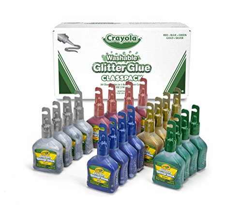 Glue Glitter Washable Pens (Crayola Glitter Glue Bulk, 20 Count Classpack, Washable Craft Glue, 5 Assorted Colors)