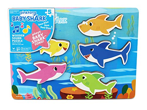Cardinal Industries 6053347 Pinkfong Baby Shark Chunky Wooden Sound Puzzle - Plays The Baby Shark Song, Multicolor Doug Puzzles Stuffed Animals
