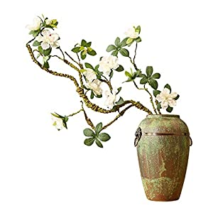 Fake Flower Artificial Rhododendron Fake Flower Dried Flower Branch Shape Home Decoration Chinese Zen Ceramic vase Display Floral 34