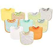 Luvable Friends 10-Piece Baby Bibs, Chevron and Solids (Colors May Vary)
