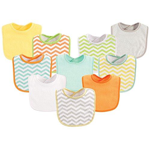 Luvable Friends Unisex Baby Drooler Bibs, Neutral Chevron 10-Pack, One Size