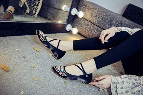 Merceditas Zapatos Punta paño Bordados de Zapatos Black Zapatos Alpargatas Baile Bordado de de Zapatos aguda ZWPwBExq