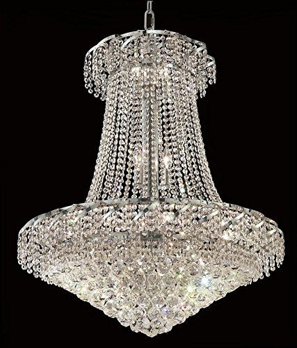 Elegant Lighting Eca1D30C/Rc Royal Cut Clear Crystal Belenus 18-Light, Two-Tier Crystal Chandelier, Finished in Chrome with Clear Crystals ()