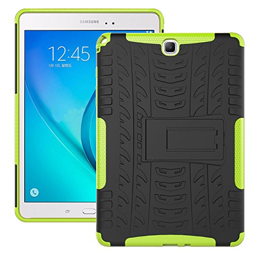 - Galaxy Tab A 9.7 Case, Galaxy Tab A 9.7 Cover, Dual Layer Protection Shock Absorption Hybrid Rugged Case Hard Shell Cover with Kickstand for Samsung Galaxy Tab A 9.7 [SM-T550/T555] (Green)