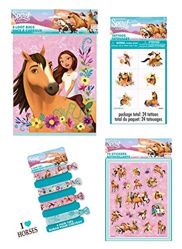 Spirit Riding Free Horse Birthday Party Favor Set for 16 Guests - Includes Loot Bags, Stickers, Tattoos and Hair Ties