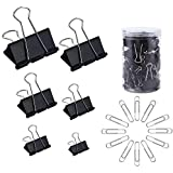 130 Pc Assorted Size Binder Clips + [100 Bonus Paper Clips] - 6 Sizes Paper Clamp - Sturdy Container Included (Black)