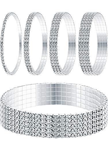 - Yaomiao 5 Pieces Rhinestone Stretch Bracelet Anklet Crystal Bracelet Sliver Tennis Bracelet Wedding Jewelry for Women