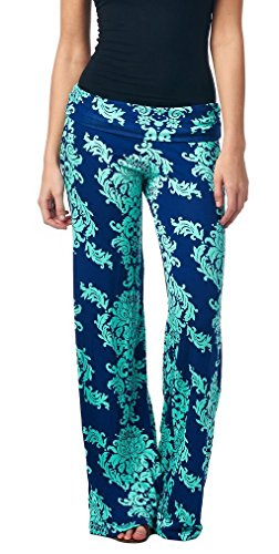 Eastylish Daisy Printing Womens Trousers harem Wide Leg Palazzo Pants