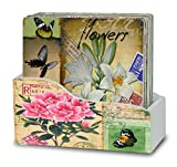 Drink Coasters with Holder - Set of 6 - Assorted Artist Renderings of Flowers & Butterflies - Each Coaster is Printed with a Unique Colorful Flower Theme with Vintage European Stamps