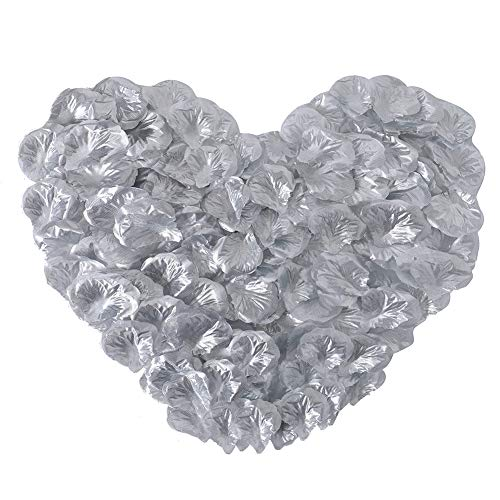 APICCRED 2000 PCS Artificial Silk Flower Rose Petals for Bridal Wedding Party Decoration (Silver)