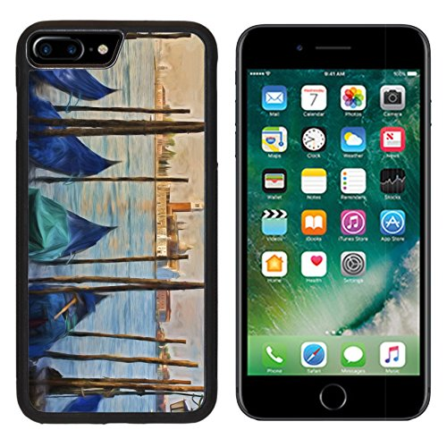 MSD Premium Apple iPhone 7 Plus Aluminum Backplate Bumper Snap Case Impressionist painting of Gondolas moored at Molo San Marco in Venice Italy with San IMAGE - Marcos Premium San