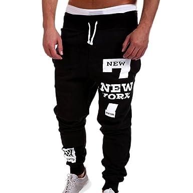 7f760f58b Men Pants Daoroka Men's Casual Plus Size Letter Long Cotton Jogging Harem  Running Trousers with Pocket