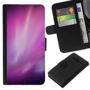 Stuss Case / Funda Carcasa PU de Cuero - Aurora Borealis Purple Estrellas del cielo nocturno - Samsung Galaxy Core Prime