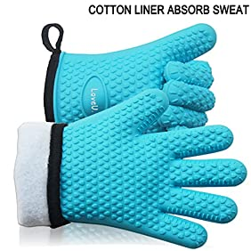 LoveU Oven Mitts Silicone and Cotton Double-layer Heat Resistant Gloves - 1 Pair (Blue)