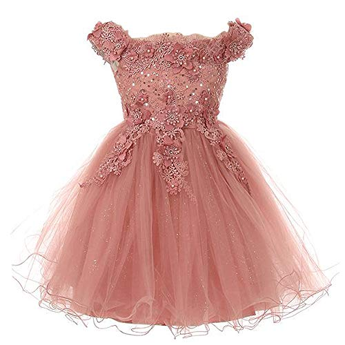 fedbcbecac00c Big Girls Off Shoulder Rhinestone Beaded Flower Lace Applique Bodice  Glitters Tulle Skirt Mauve - Size 8