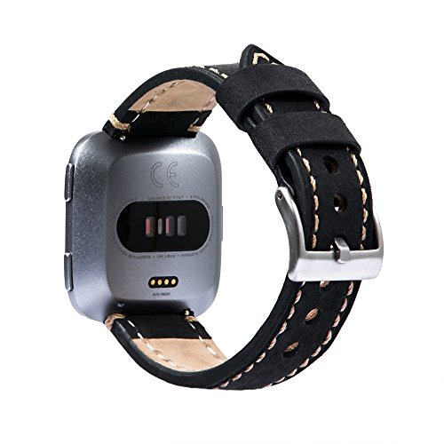 (Zahara For Fitbit Versa Bands Women Men, Genuine Leather Wristband Replacement Wrist Bracelet Accessories Fitness Strap with Stainless Steel Buckle & Retro Crazy Horse Texture (Black))