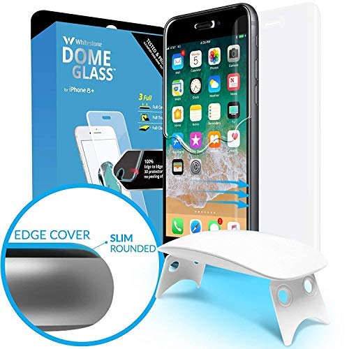 Dome Glass iPhone 8 Plus Screen Protector Tempered Glass Shield, [Liquid Dispersion Tech] 2.5D Full Cover, Easy Install UV Light Kit Whitestone for Apple iPhone 8+ (2017) / iPhone 7 Plus (2016)